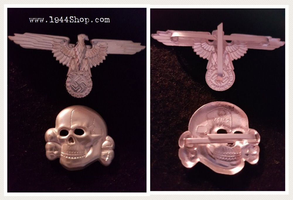 Waffen-SS Cap Set in Misty Silver Plating