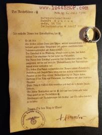 Totenkopfring Der SS Document for SS-Untersturmführer SS-Nr. 29 738 Hubert R a n d a u